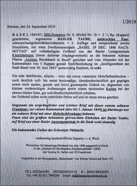 Lot 7015 - Switzerland basle -  Corinphila Auction AG Day 5- Schweiz - Die Sammlung Erivan (Teil 1), Die Sammlung Jack Luder (Teil 5), Schweiz & Liechtenstein