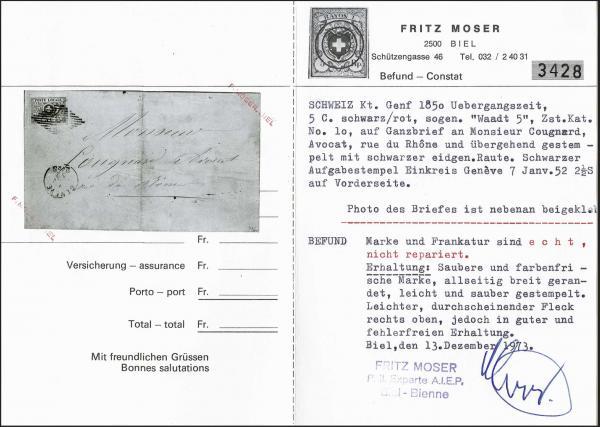 Lot 7012 - Switzerland geneva -  Corinphila Auction AG Day 5- Schweiz - Die Sammlung Erivan (Teil 1), Die Sammlung Jack Luder (Teil 5), Schweiz & Liechtenstein
