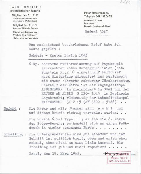 Lot 7285 - Switzerland zürich -  Corinphila Auction AG Day 5- Schweiz - Die Sammlung Erivan (Teil 1), Die Sammlung Jack Luder (Teil 5), Schweiz & Liechtenstein