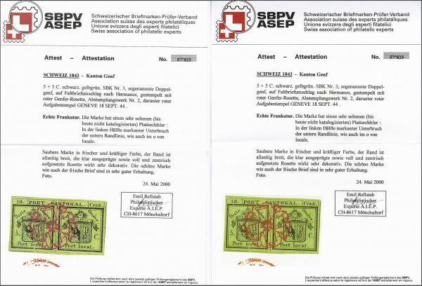 Lot 7106 - Switzerland geneva -  Corinphila Auction AG Day 5- Schweiz - Die Sammlung Erivan (Teil 1), Die Sammlung Jack Luder (Teil 5), Schweiz & Liechtenstein