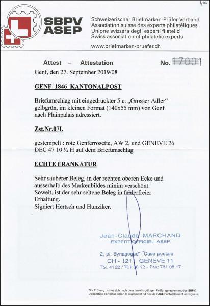 Lot 7010 - Switzerland geneva -  Corinphila Auction AG Day 5- Schweiz - Die Sammlung Erivan (Teil 1), Die Sammlung Jack Luder (Teil 5), Schweiz & Liechtenstein