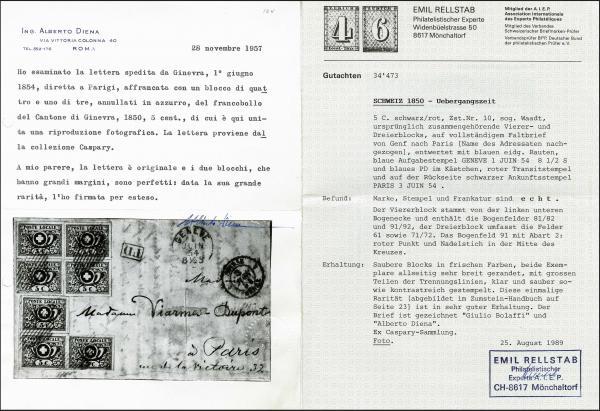 Lot 7013 - Switzerland geneva -  Corinphila Auction AG Day 5- Schweiz - Die Sammlung Erivan (Teil 1), Die Sammlung Jack Luder (Teil 5), Schweiz & Liechtenstein