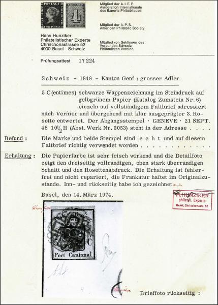 Lot 7008 - Switzerland geneva -  Corinphila Auction AG Day 5- Schweiz - Die Sammlung Erivan (Teil 1), Die Sammlung Jack Luder (Teil 5), Schweiz & Liechtenstein