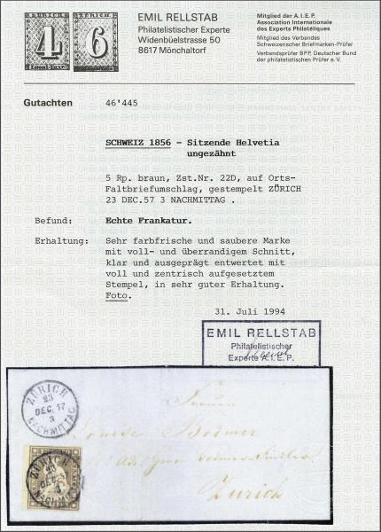 Lot 7227 - Switzerland Sitting Helvetia imperf. 'Strubel' -  Corinphila Auction AG Day 5- Schweiz - Die Sammlung Erivan (Teil 1), Die Sammlung Jack Luder (Teil 5), Schweiz & Liechtenstein