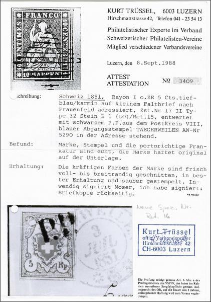 Lot 7170 - Switzerland rayon i light blue -  Corinphila Auction AG Day 5- Schweiz - Die Sammlung Erivan (Teil 1), Die Sammlung Jack Luder (Teil 5), Schweiz & Liechtenstein