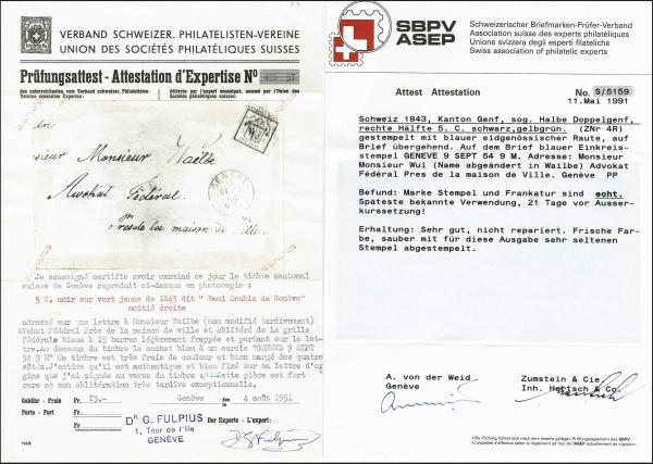 Lot 7007 - Switzerland geneva -  Corinphila Auction AG Day 5- Schweiz - Die Sammlung Erivan (Teil 1), Die Sammlung Jack Luder (Teil 5), Schweiz & Liechtenstein
