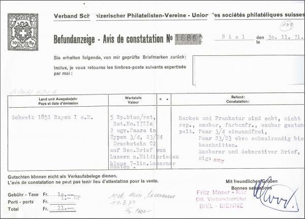 Lot 7416 - Switzerland rayon i light blue -  Corinphila Auction AG Day 5- Schweiz - Die Sammlung Erivan (Teil 1), Die Sammlung Jack Luder (Teil 5), Schweiz & Liechtenstein