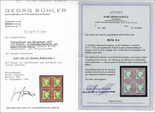 Lot 2351 - germany helgoland -  Corinphila Auction AG Day 4- Europe & Overseas, Zeppelin-Mail, Die Sammlung Erivan (Part I), Schweiz & Liechtenstein