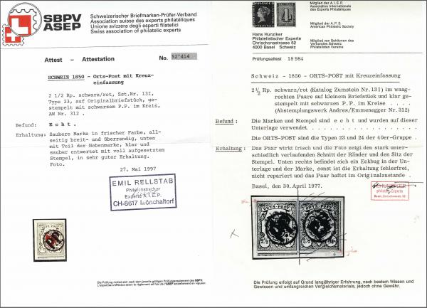 Lot 8013 - schweiz Bundesmarken -  Corinphila Auction AG Auction 265th - 273rd - Day 6