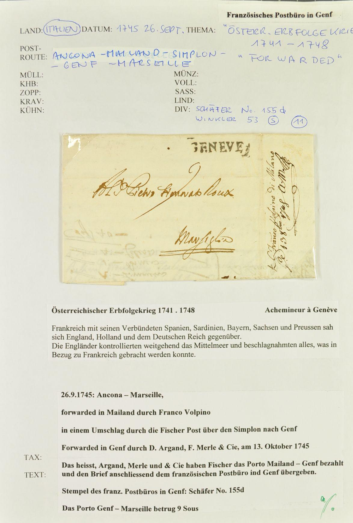 Europe Transit Mail To 1800 Corinphila Auctions Stamps