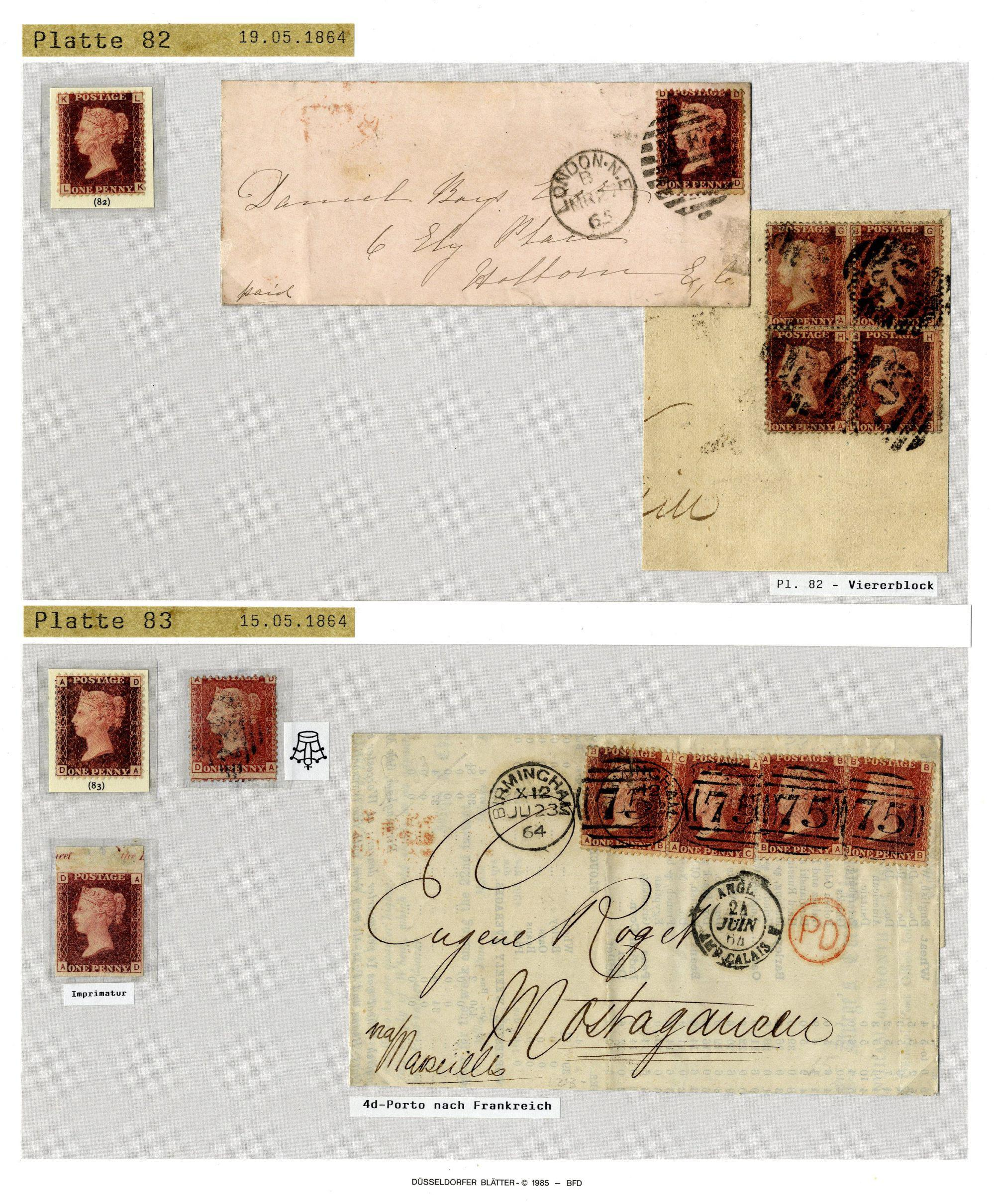 Private Treaty offer: GB 1864/80 1 d  rose red - Corinphila